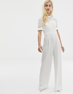 Read more about Forever new embroidered top jumpsuit with wide leg in white