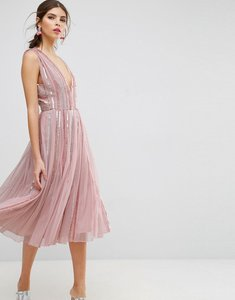 Read more about Asos salon sequin mesh fit and flare midi dress - pink
