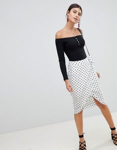 Read more about Prettylittlething polka dot wrap skirt - white
