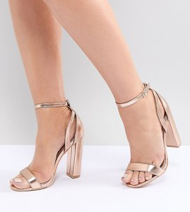 Read more about Lost ink wide fit rose gold blaise block heeled sandals - rose gold