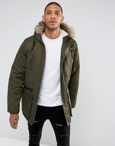 Read more about Thereadbare faux fur borg lined parka - green