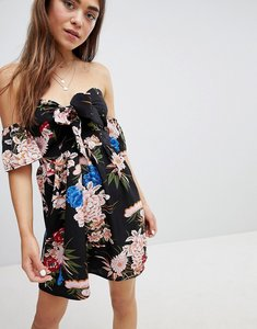 Read more about Parisian off shoulder floral print skater dress with bow tie - black