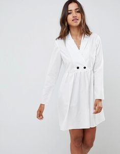 Read more about Asos design cotton smock mini dress with long sleeves - white