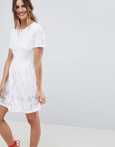 Read more about Asos design broderie mini skater dress - white