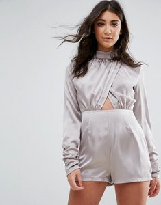 Read more about Missguided grey high neck wrap satin playsuit - grey