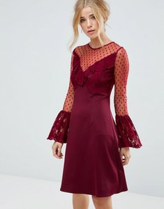 Read more about Elise ryan a line mini dress with lace frill fluted long sleeve - deep wine