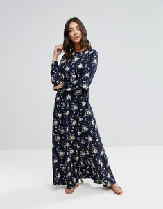 Read more about Liquorish floral long-sleeve maxi dress - navy