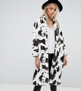 Read more about Religion longline coat in cow print faux fur - cow