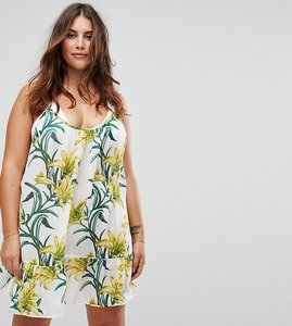 Read more about Asos curve lily print simple t back beach dress - lily print