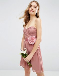 Read more about Asos wedding chiffon bandeau mini dress with detachable corsage - rose pink