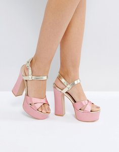 Read more about Public desire vamp pink and gold platform heeled sandals - pink satin gold pu