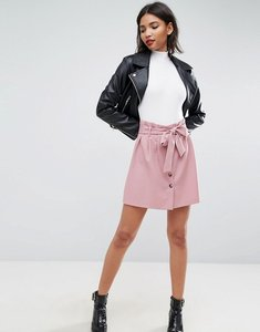 Read more about Asos tailored paper bag waist mini skirt - nude
