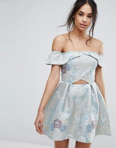 Read more about Missguided brocade off the shoulder skater dress - blue