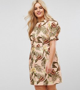 Read more about Asos curve wiggle dress with open back in tropical print - multi