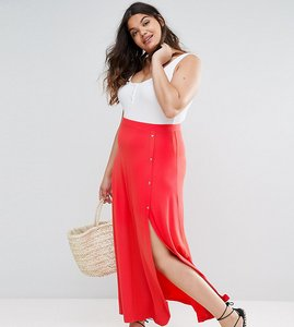 Read more about Asos curve maxi skirt with asymmetric poppers split - coral red