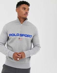 Read more about Ralph lauren sport capsule chest logo half zip sweatshirt in grey marl