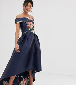 Read more about Chi chi london tall bardot neck prom dress with high low hem in navy floral