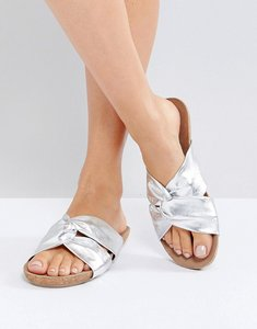 Read more about Asos funhouse leather knot sliders - silver