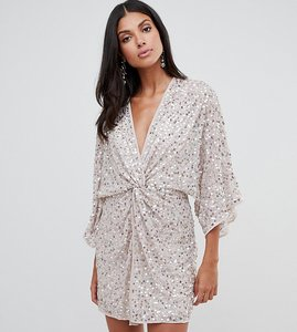 c97351cf96f8 Read more about Asos design tall scatter sequin knot front kimono mini dress