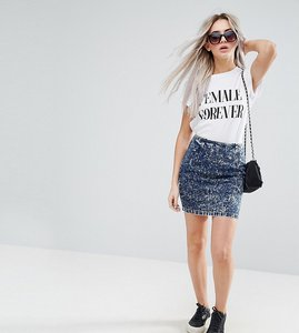 Read more about Asos petite denim mini skirt in blue acid wash - blue
