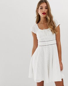 Read more about Forever new broderie anglais tuck waist midi dress in white