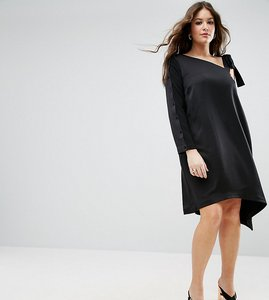 Read more about Asos curve one shoulder tie detail asymmetric hem dress - black