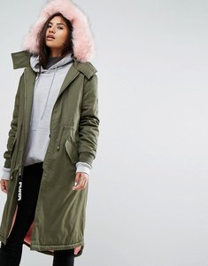 Read more about Puffa oversized parka jacket with faux fur trim and snuggle lining - khaki