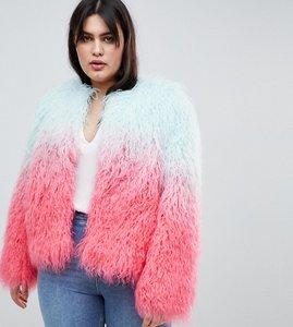 Read more about Asos design curve mongolian ombre faux fur festival jacket - multi