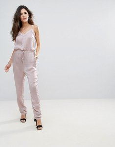 Read more about Soaked in luxury silky drawstring jumpsuit - orchid petal