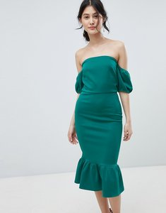 Read more about True violet bardot midi dress with puff sleeve and peplum - green