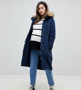 Read more about Mamalicious parka coat with faux fur trim hood - navy