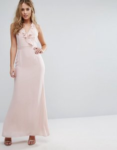 Read more about Elise ryan frill maxi dress with straps - soft blush