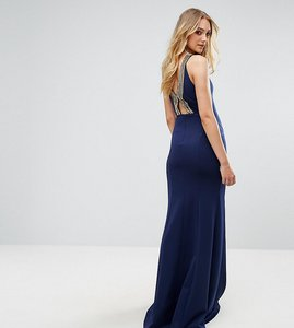 Read more about Tfnc tall highneck maxi dress with embellished back - navy gold