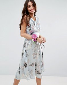 Read more about Asos wedding 40s seamed satin midi dress in silver rose print - multi