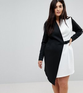 Read more about Asos curve colourblock blazer dress with belt - multi