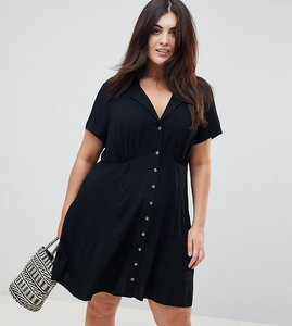 Read more about Asos design curve button through mini skater dress - black