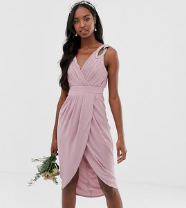 Read more about Tfnc tall bridesmaid exclusive wrap midi dress in pink
