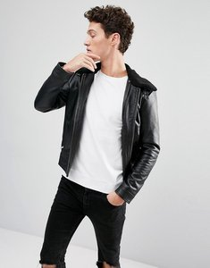 Read more about Selected homme leather jacket with removable borg collar - black