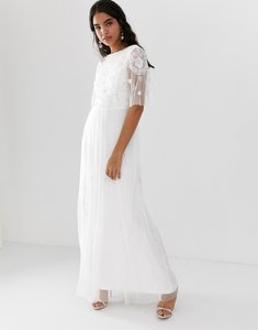Read more about Amelia rose embellished maxi dress with sheer sleeve in off white