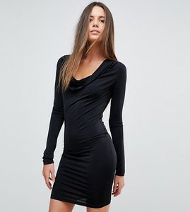 Read more about Asos tall plunge cowl neck mini bodycon dress - black