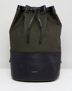 Read more about Sandqvist gita duffle backpack in cotton canvas and leather mix - khaki black