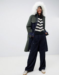 Read more about Asos design quilted hybrid parka with faux fur hood