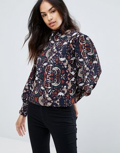 Read more about Qed london high neck printed blouse - navy