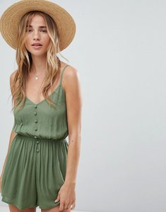 Read more about Asos design playsuit in crinkle with button front - khaki