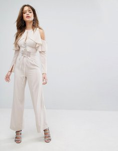 Read more about Lavish alice nude lace up wide leg trousers - nude