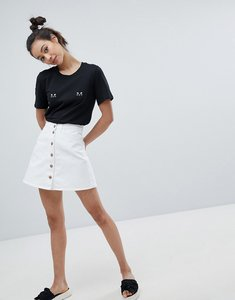 Read more about Monki button front white denim a-line skirt - white