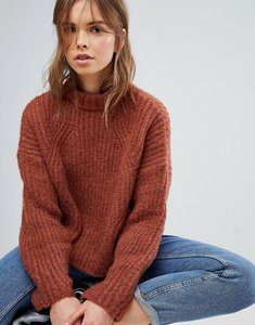 Read more about Bershka cable knitted balloon sleeve jumper - tile