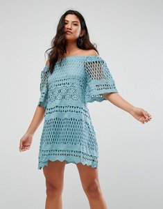 Read more about Girl in mind lace bardot style swing dress - blue
