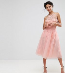 Read more about Little mistress petite waisted tulle prom skirt - nude
