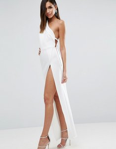 Read more about Asos one shoulder maxi dress with exposed zip - ivory